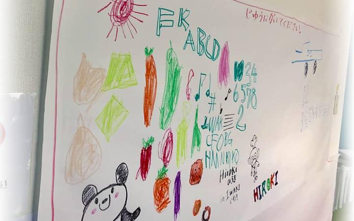 写真:ホワイトボードに描かれた子どもたちの絵